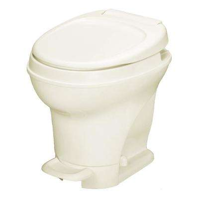 Aqua-Magic V 10 in. Rough-in 1-Piece .06 GPF Single Flush Foot Flush Round RV Toilet in Parchment