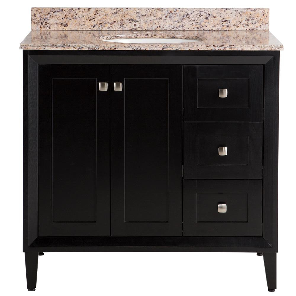 St. Paul Austell 37 in. W x 38 in. H x 22 in. D Vanity in Black with Stone Effects Vanity Top in Santa Cecilia with White Sink