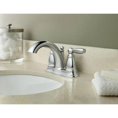 Brantford 4 in. Centerset 2-Handle Low-Arc Bathroom Faucet in Chrome with Metal Drain Assembly