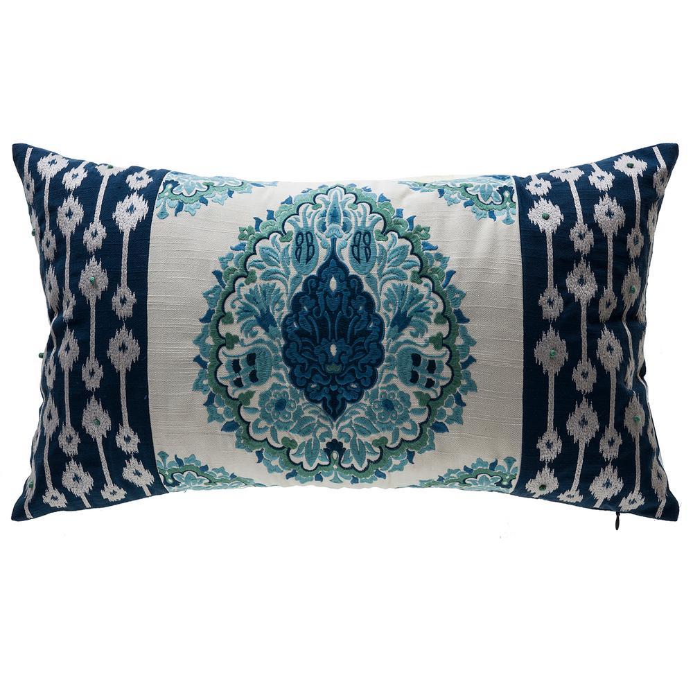Bombay Outdoors Arabesque Indigo Lattice Lumbar Outdoor Throw Pillow