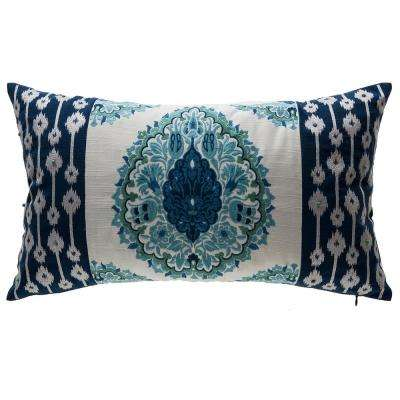 Arabesque Indigo Lattice Lumbar Outdoor Throw Pillow