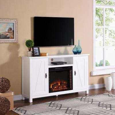 Fielder 58 in. Farmhouse Style Electric Fireplace TV Stand in White