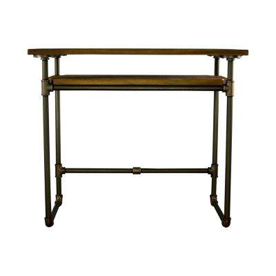Berkeley Mid-Century Industrial Brown Home Office Pipe Writing Desk-Lower Shelf-Metal with Reclaimed Aged-Wood