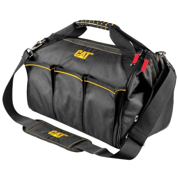 16 in. 18-Pocket Pro Wide Mouth Tool Bag in Black