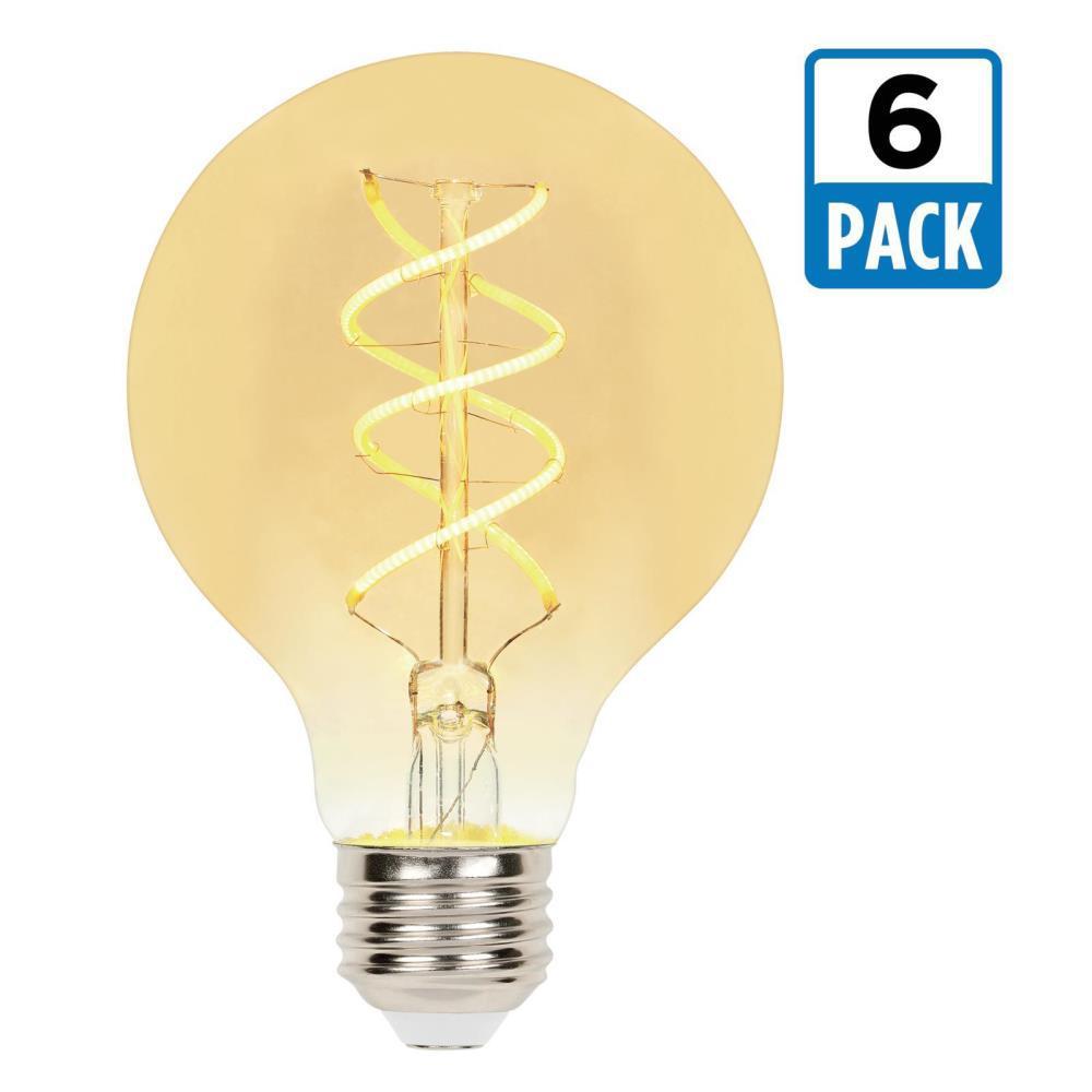 25-Watt Equivalent G25 Dimmable 2000K Flexible Filament LED Light Bulb (6-Pack)