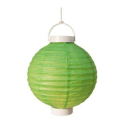 Battery Operated Paper Lantern in Green (3-Count)
