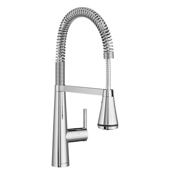 Edgewater Semi-Professional Single-Handle Pull-Down Sprayer Kitchen Faucet with SelectFlo in Polished Chrome