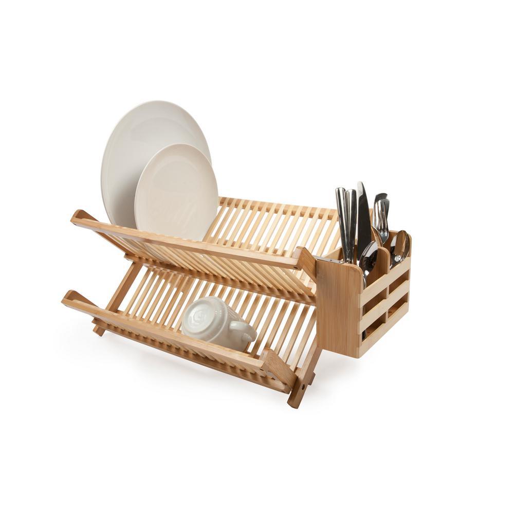 Internet #300759037. Core Bamboo Bamboo Dish Rack With Utensil Holder