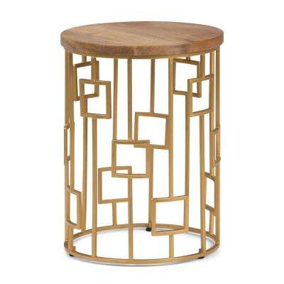 Rhys Natural and Gold Metal/Wood Accent Table