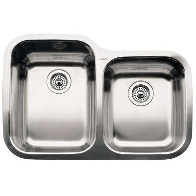 Supreme Undermount Stainless Steel 31 in. 1-3/4 Bowl Kitchen Sink