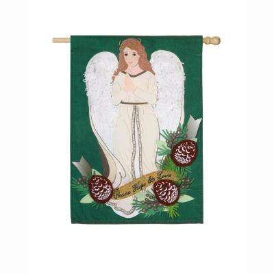 28 in. x 44 in. Peace Love Hope Angel House Linen Flag