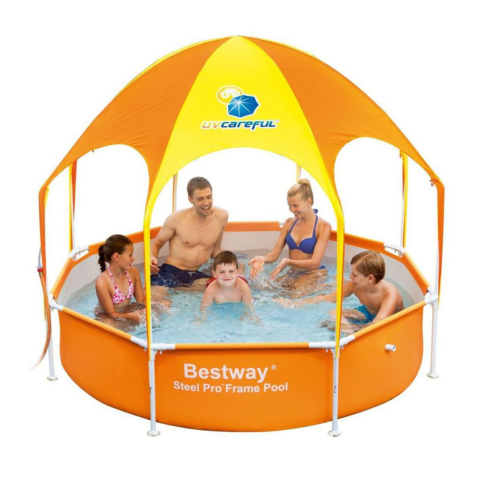Bestway Round 8 ft. x 20 in. Deep Splash in Shade Kids Spray Play Swimming  Pool with UV Canopy
