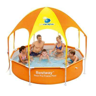 Round 8 ft. x 20 in. Deep Splash in Shade Kids Spray Play Swimming Pool with UV Canopy