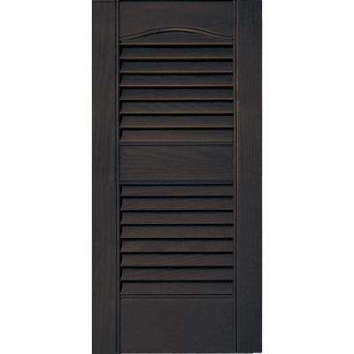 12 in. x 25 in. Louvered Vinyl Exterior Shutters Pair #010 Musket Brown