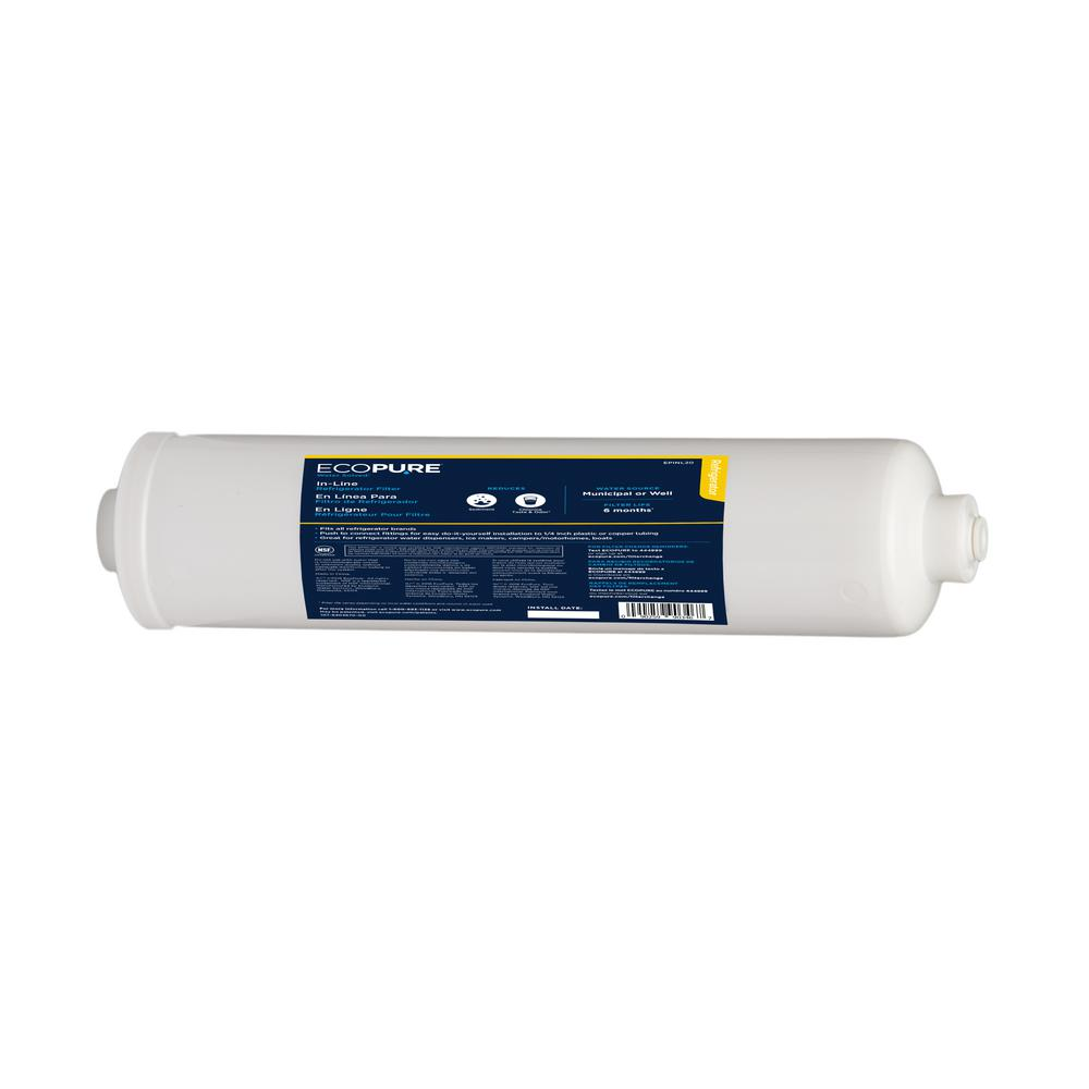 EcoPure External In-Line Refrigerator Water Filter - Universal Fit