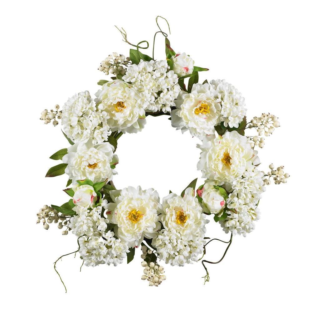 20 in. Peony Hydrangea Wreath