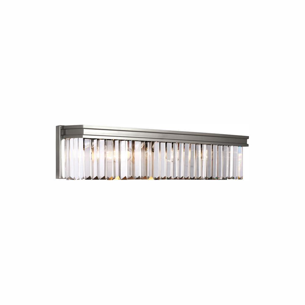 Carondelet 4-Light Brushed Nickel Bath Light with LED Bulbs