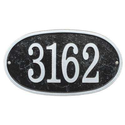 Fast and Easy Oval House Number Plaque, Black/Silver