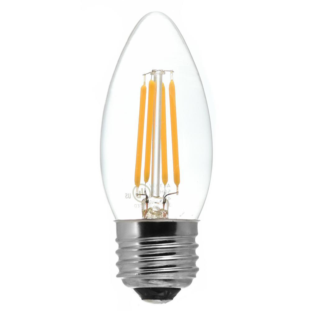 40-Watt Equivalent Medium Base (E26) Antique White (2200K) Dimmable Clear LED Blunt Tip C11 Light Bulb