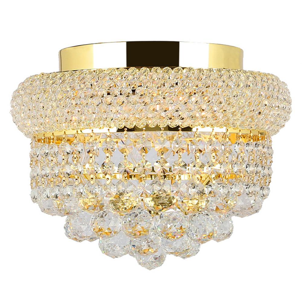 Worldwide Lighting Empire 4-Light Gold and Clear Crystal Flush Mount