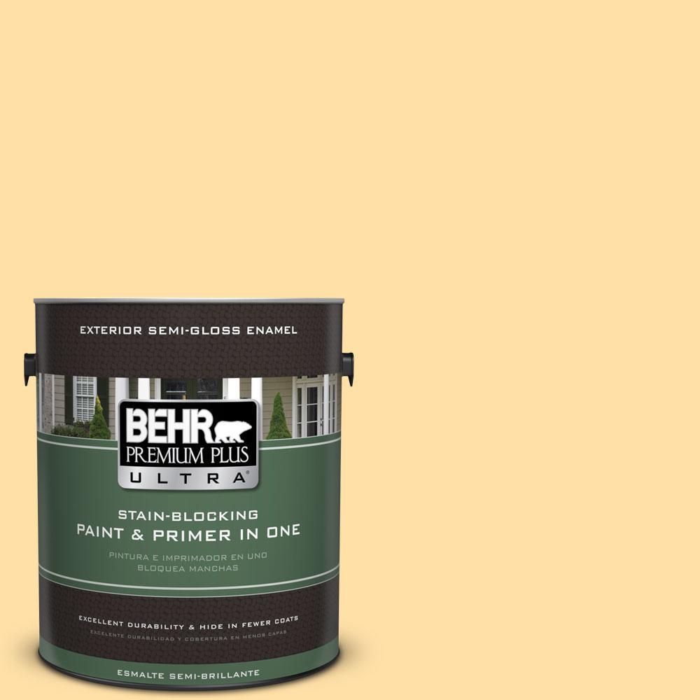 BEHR Premium Plus Ultra 1-gal. #310A-3 Manila Tint Semi-Gloss Enamel Exterior Paint