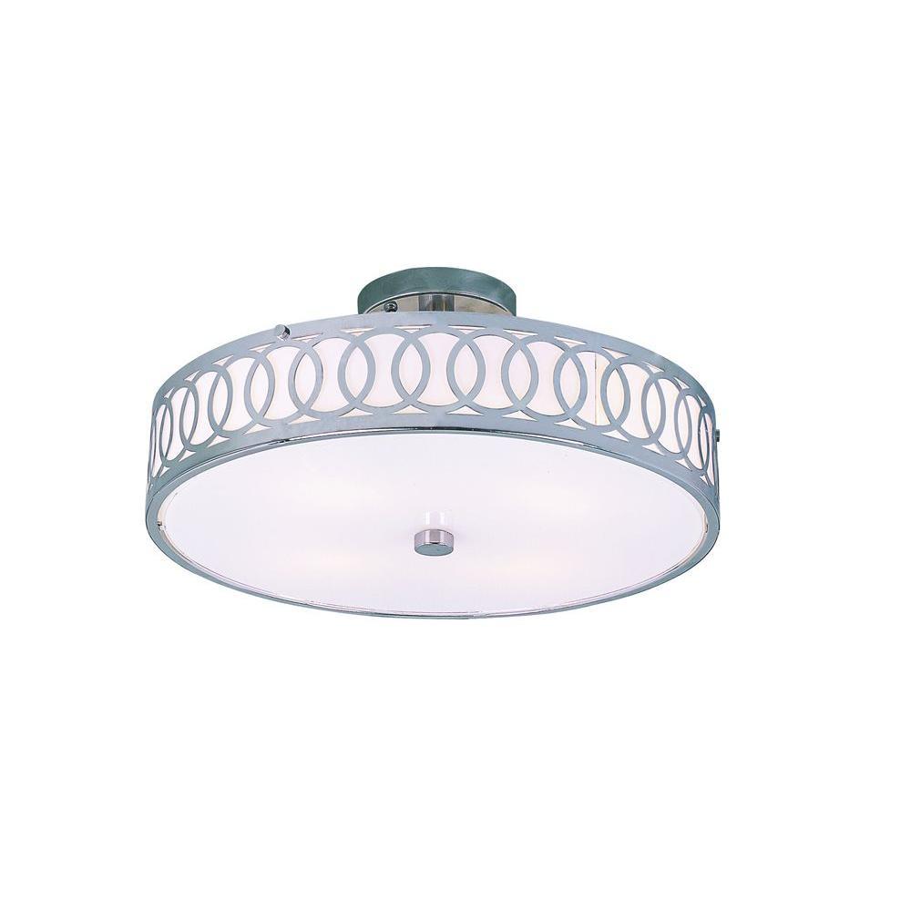 Stewart 4-Light Polished Chrome Incandescent Semi-Flush Mount Light