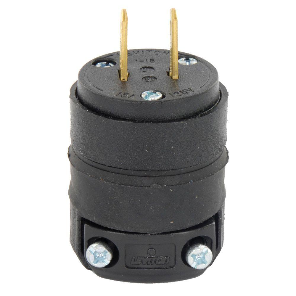 Leviton 15 Amp Straight Blade Non Grounded Plug Black R60 115pr 00r How To Wire A Gfci Outlet Without Ground Wiring Harness