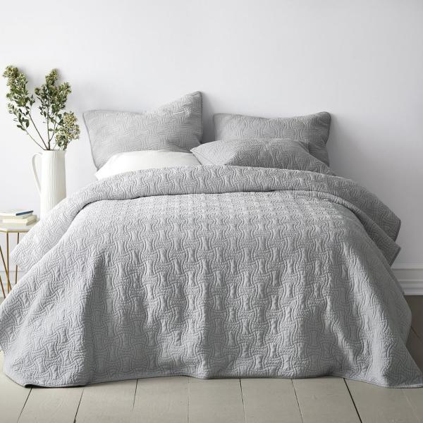 The Company Store Trevor Washed Velvet Glacier Gray Solid Cotton Queen Coverlet