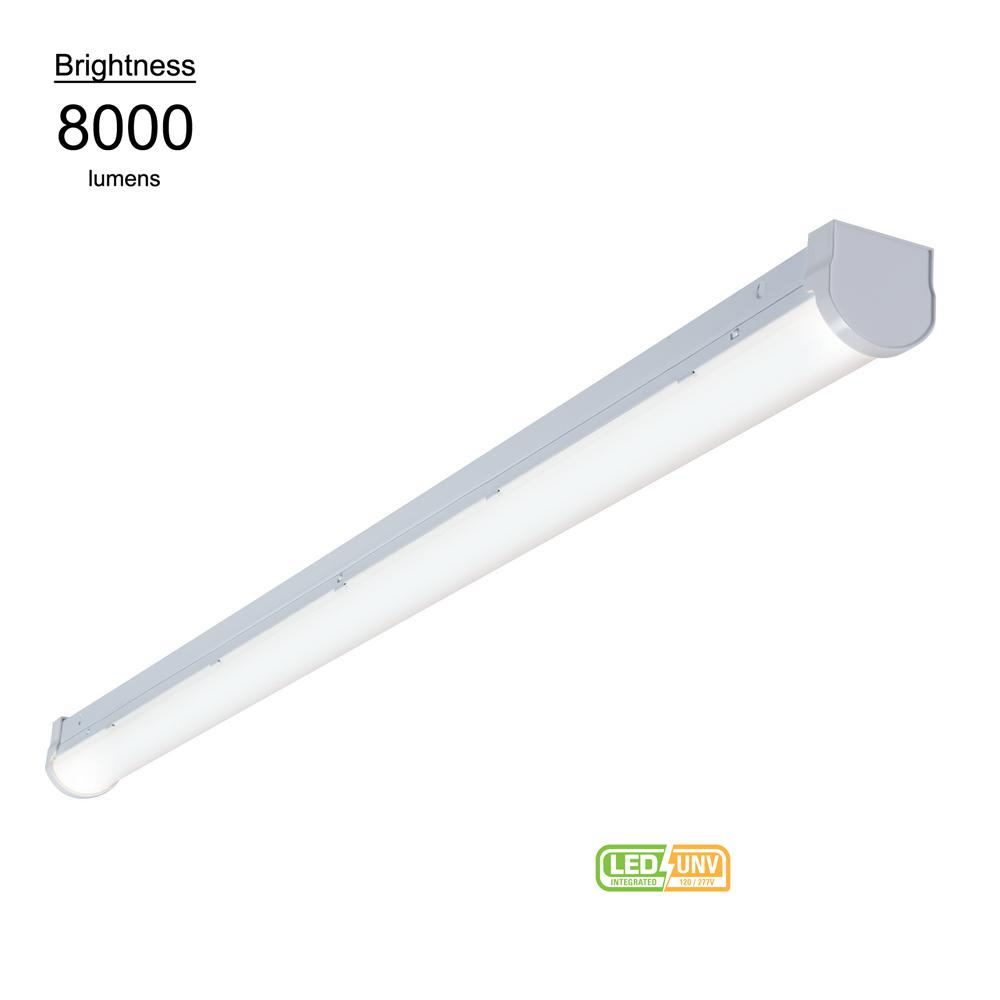 new arrival 4b1d6 2071c Metalux 8 ft. Linear White Integrated LED Warehouse Strip Light with 8176  Lumens, 4000K, UNV Voltage