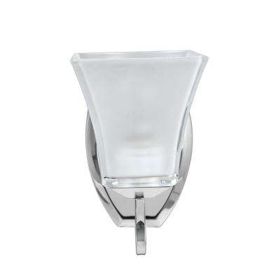 1-Light Chrome Vanity Light with Frosted Glass Shade