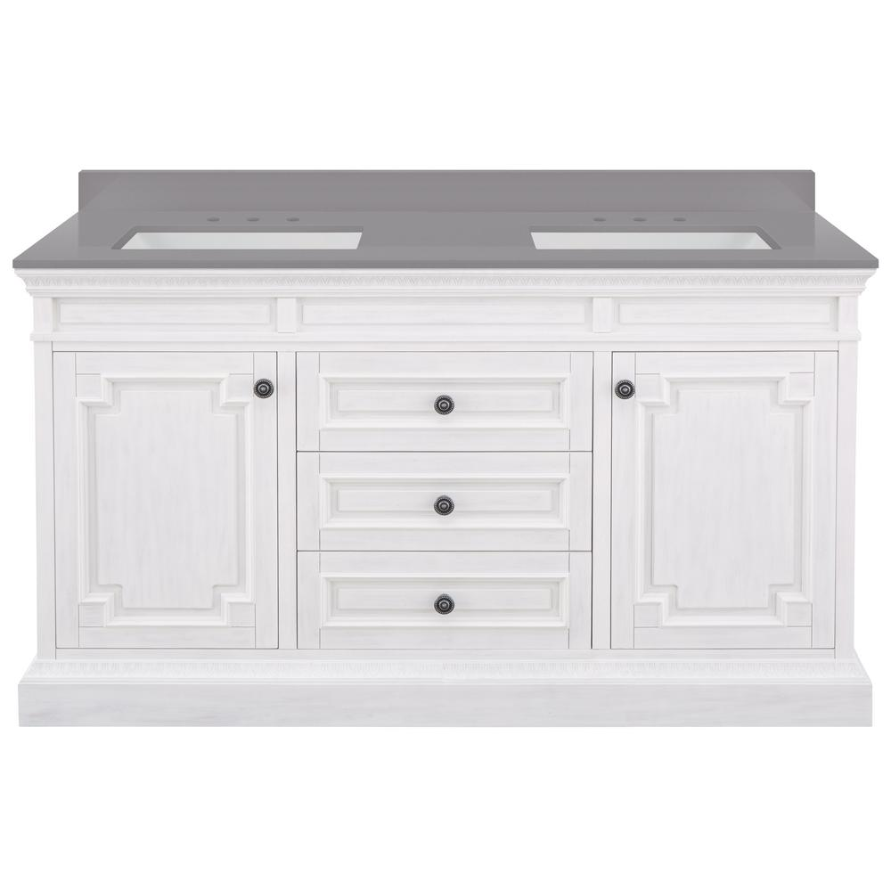 Home Decorators Collection Cailla 61 in. W x 22 in. D Bath Vanity in White Wash with Engineered Marble Vanity Top in Slate Grey with White Sinks
