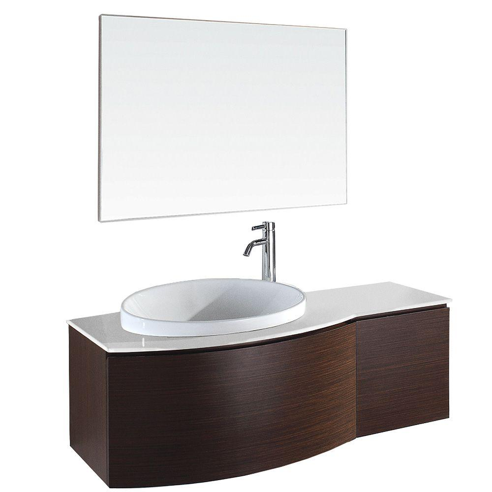 Wyndham Collection Athena 48 in. Vanity in Ironwood with Porcelain Vanity Top in White and Mirror-DISCONTINUED