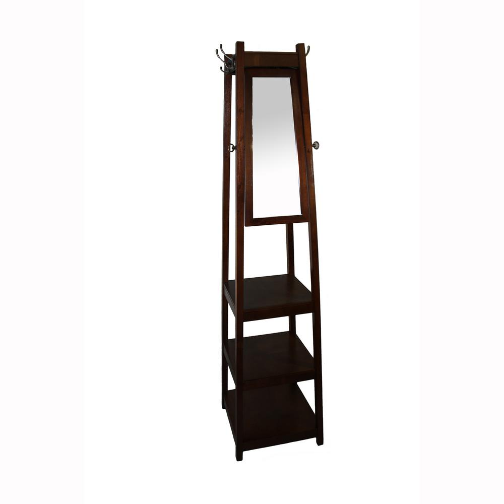 ore international 72 3 tier cherry tower shoe coat rack mirror fw1394c the home depot. Black Bedroom Furniture Sets. Home Design Ideas