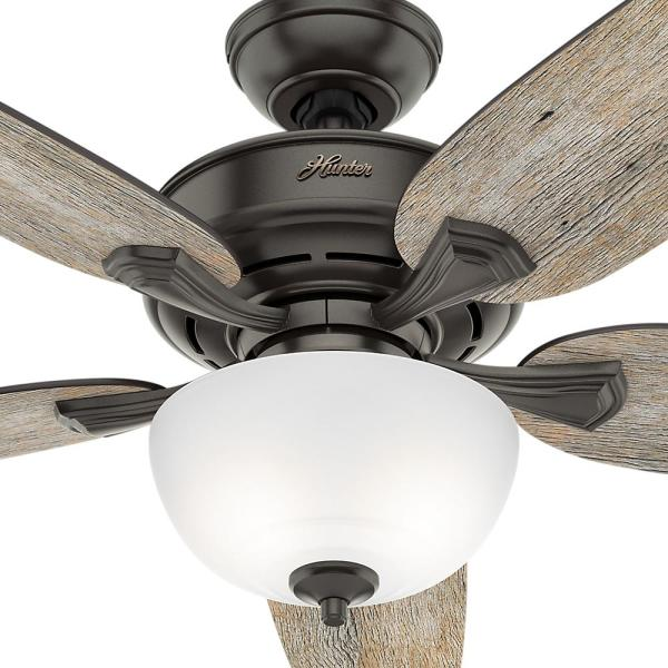 Hunter Channing 54 In Led Indoor Easy Install Noble Bronze Ceiling Fan With Hunterexpress Feature Set And Remote 53366 The Home Depot