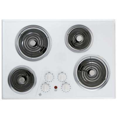 30 in. Coil Electric Cooktop in White with 4 Elements
