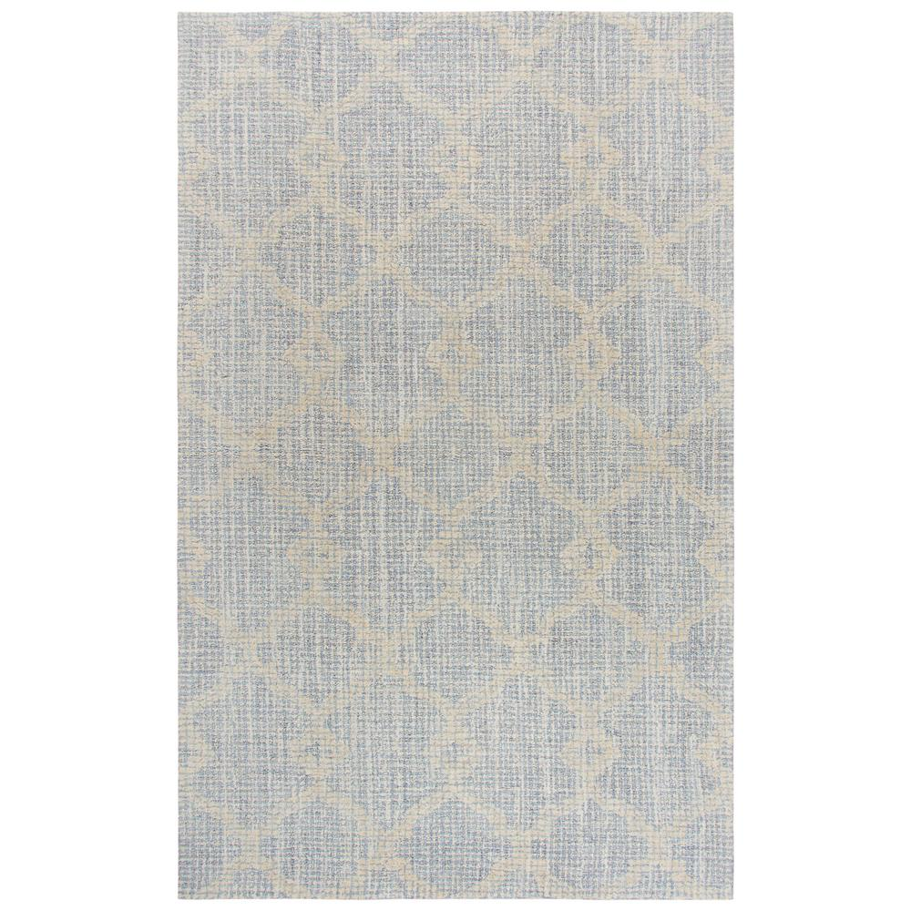 Opulent Beige and Light Blue Floral Hand Tufted Wool 8 ft.