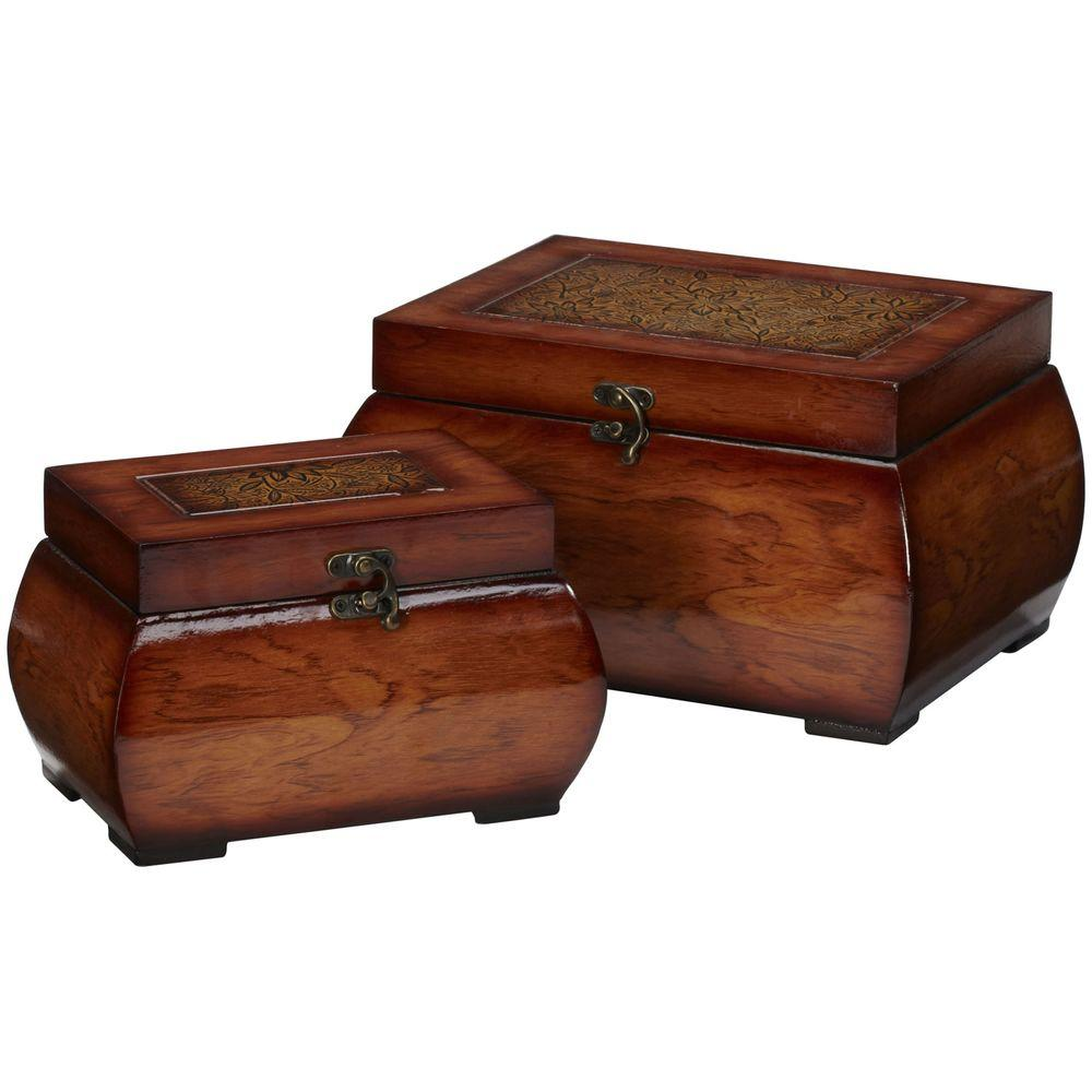 Nearly Natural 6.5 in. H Burgundy Decorative Lacquered Wood Chests (Set of 2)