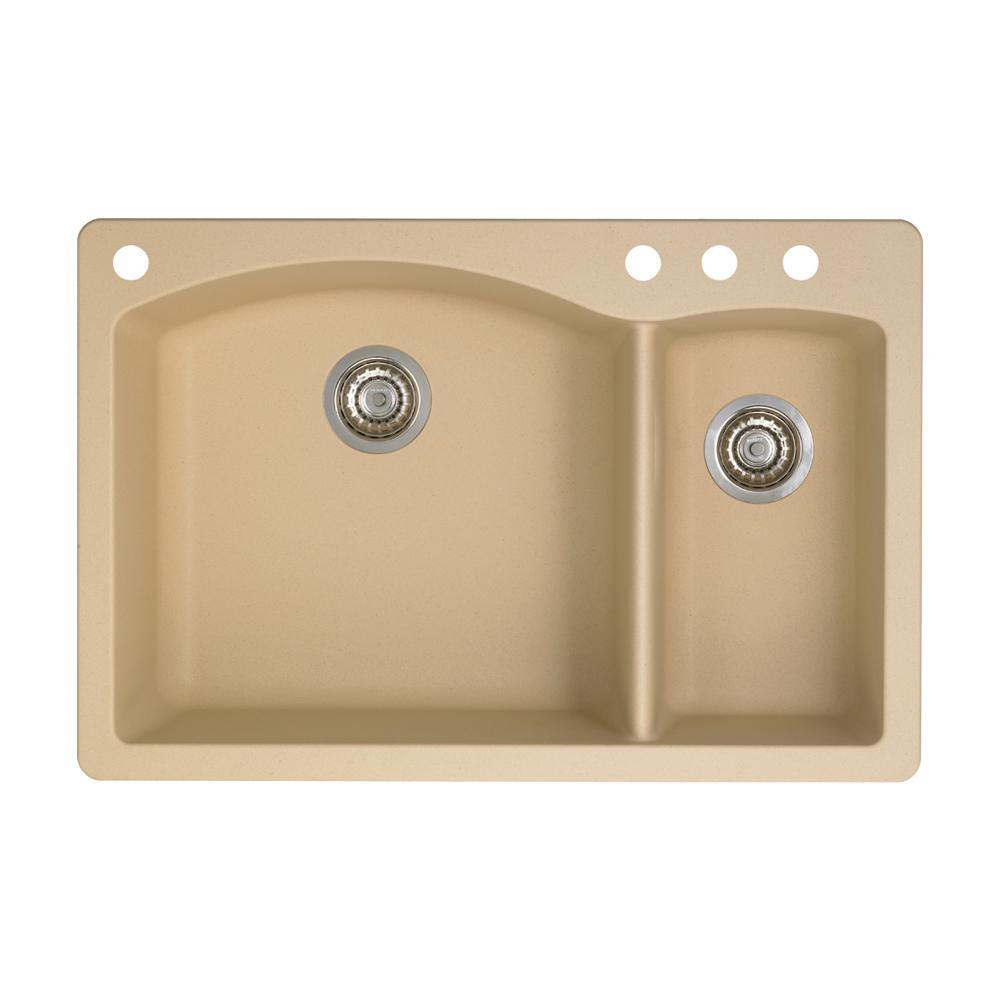 Diamond Dual-Mount Granite 33 in. 4-Hole 70/30 Double Bowl Kitchen Sink in Biscotti