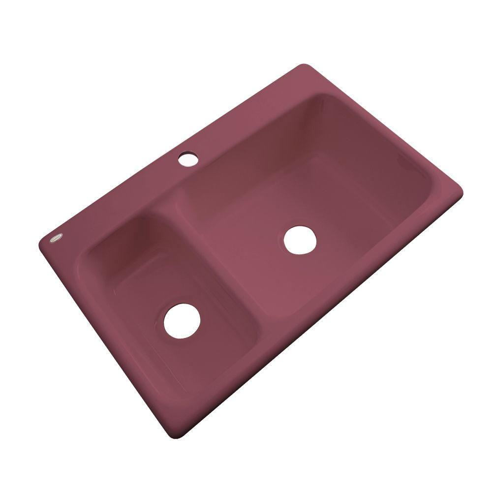 Thermocast Wyndham Drop-In Acrylic 33 in. 1-Hole Double Bowl Kitchen Sink in Raspberry Puree