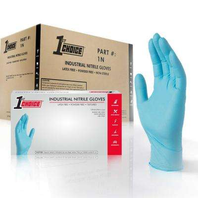 Large Blue Nitrile Industrial Powder-Free Disposable Gloves (10-Pack of 100-Count)