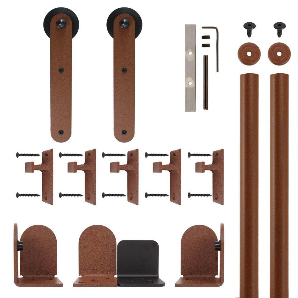 Quiet Glide Stick New Age Rust Rolling Door Hardware Kit for 3/4 ...