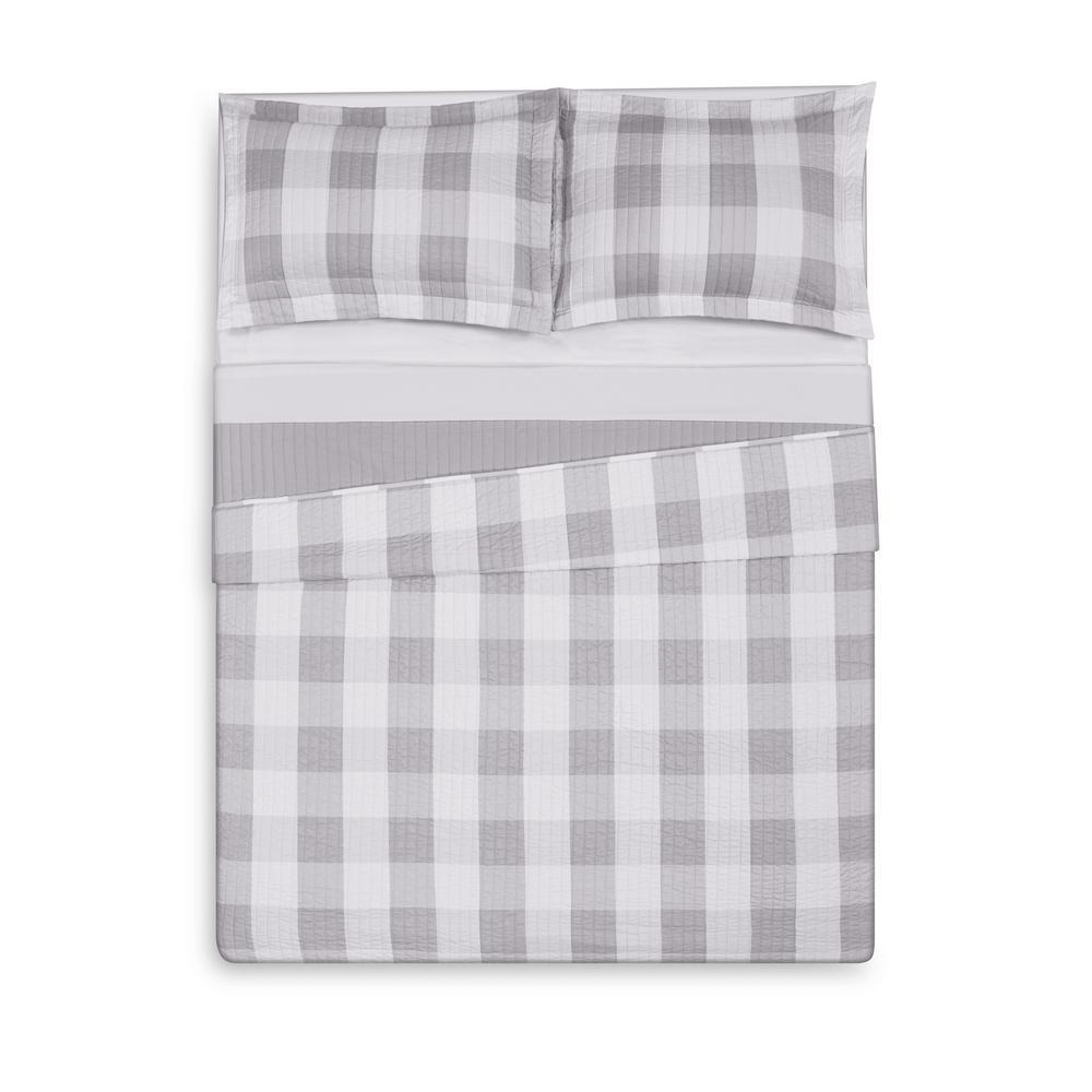 Everyday Buffalo Plaid Grey King Quilt Set
