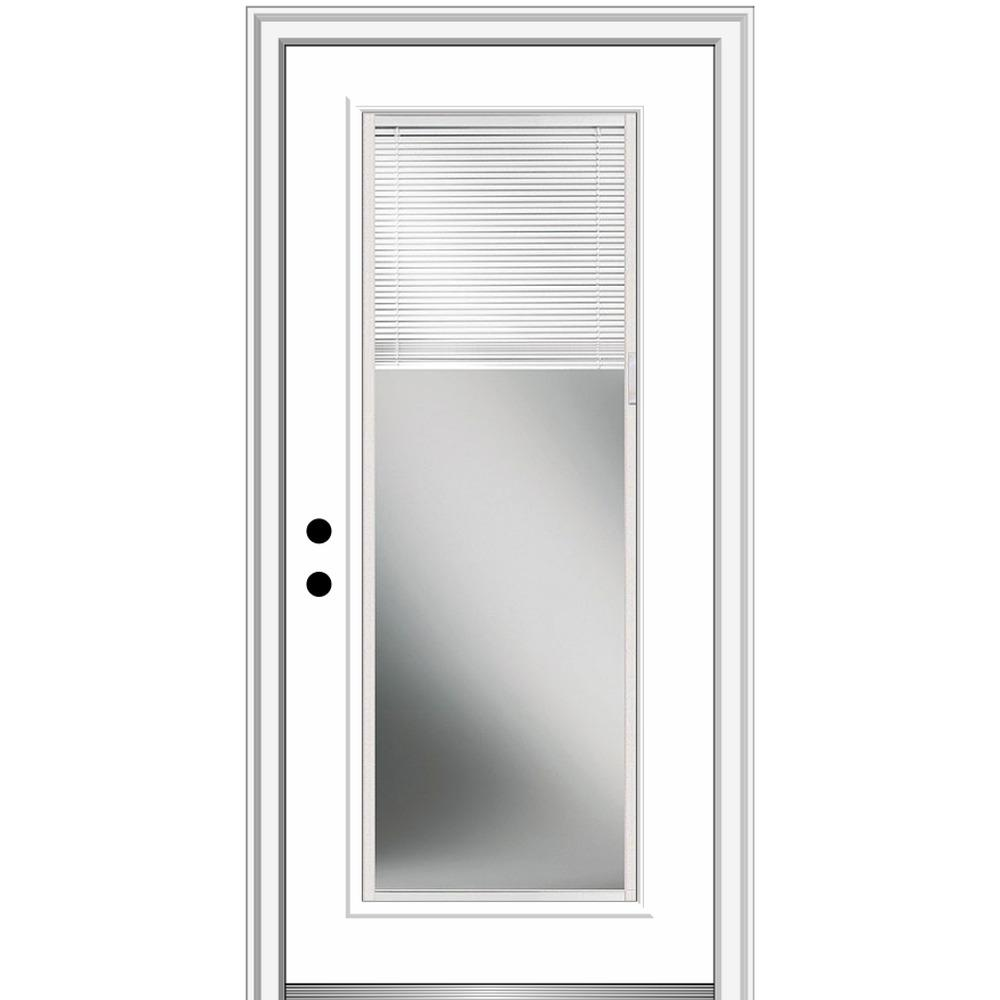 MMI Door 36 in. x 80 in. Internal Blinds Right-Hand Inswing Full Lite Clear Primed Steel Prehung Front Door