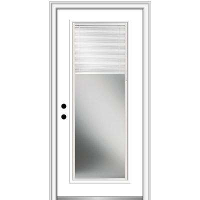 30 in. x 80 in. Internal Mini Blinds Right-Hand Inswing Full Lite Clear Primed Fiberglass Smooth Prehung Front Door