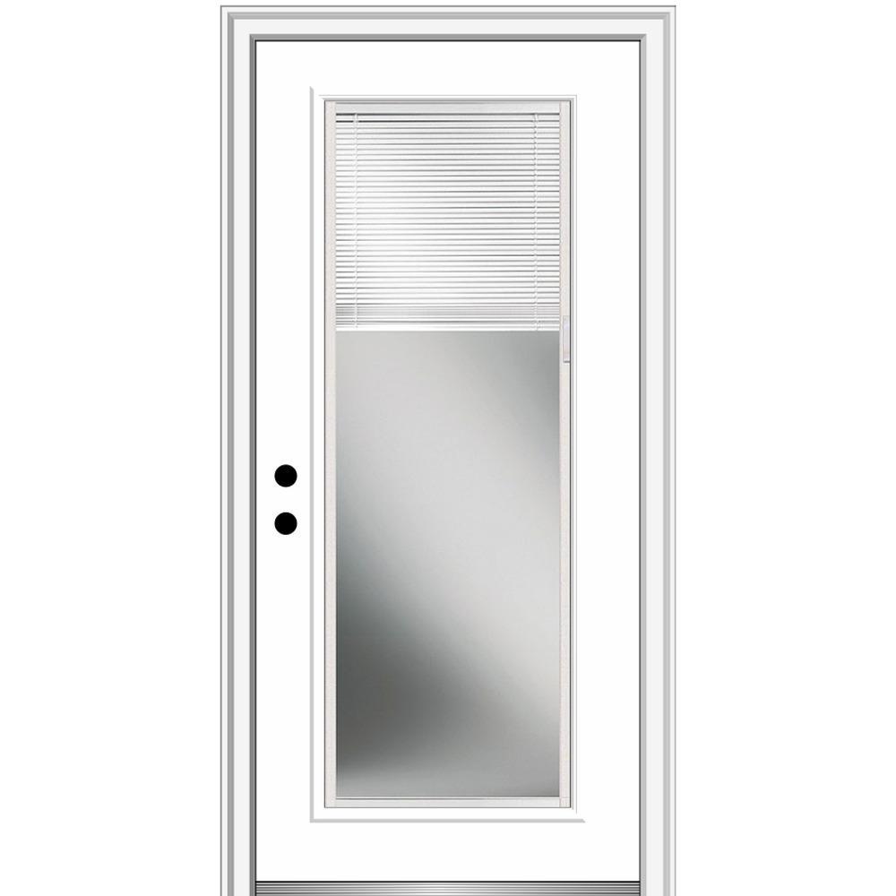 MMI Door 36 in. x 80 in. Internal Blinds Right-Hand Inswing Full Lite Clear Low-E Primed Fiberglass Smooth Prehung Front Door