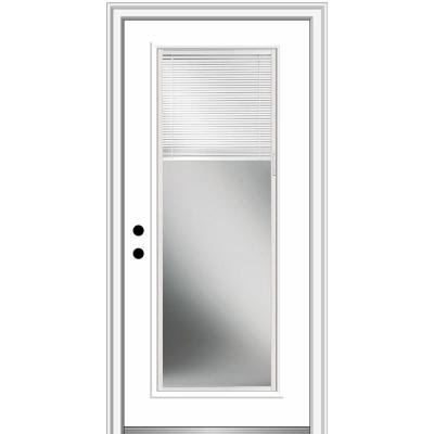 32 in. x 80 in. Internal Blinds Right-Hand Inswing Full Lite Clear Classic Primed Fiberglass Smooth Prehung Front Door