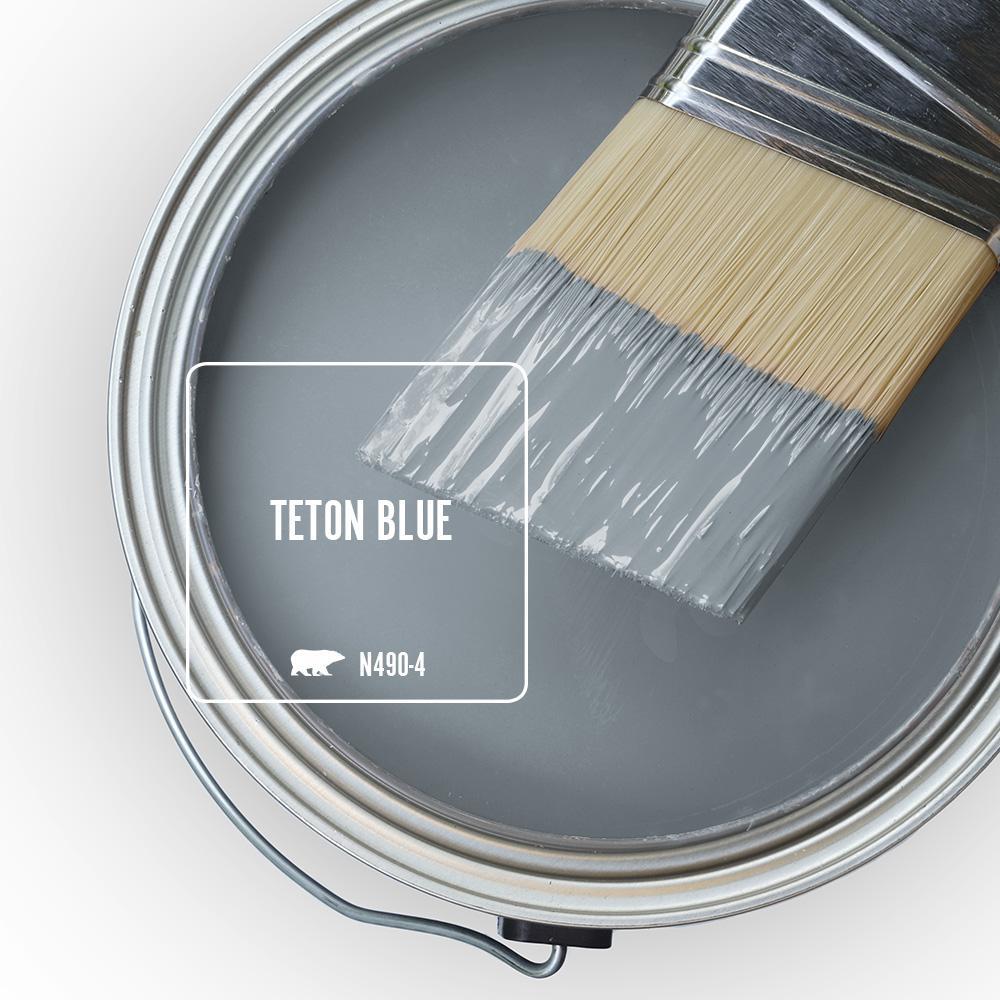 Behr Teton Blue is a gorgeous, velvety blue grey color. #behrtetonblue #bluepaintcolors #bluegreypaint