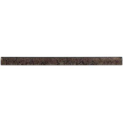 Rust Glass Pencil Liner Trim Wall Tile - 0.75 in. x 2.75 in. Tile Sample
