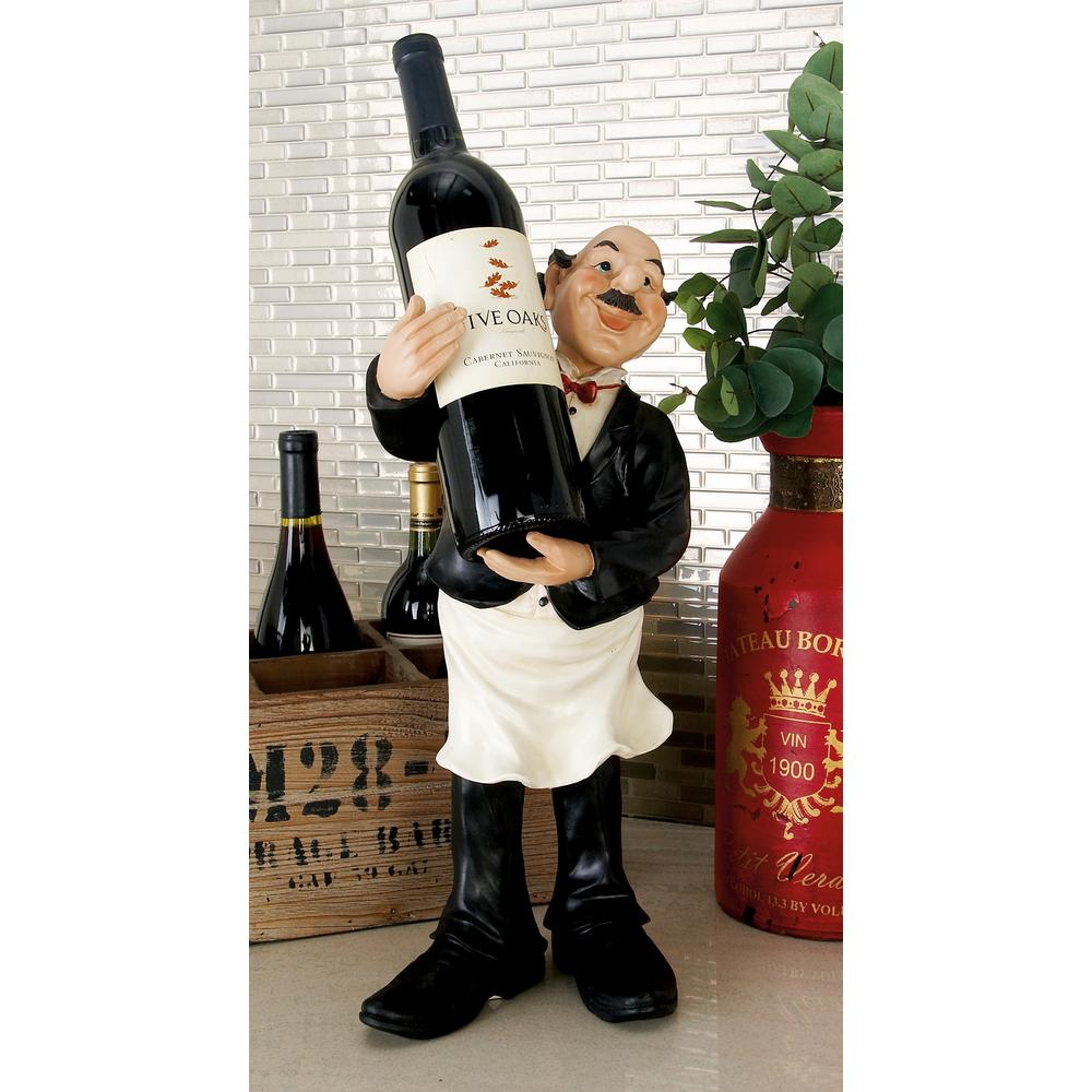 18 in. Polystone Bistro Waiter Standing Figurine Bottle Holder