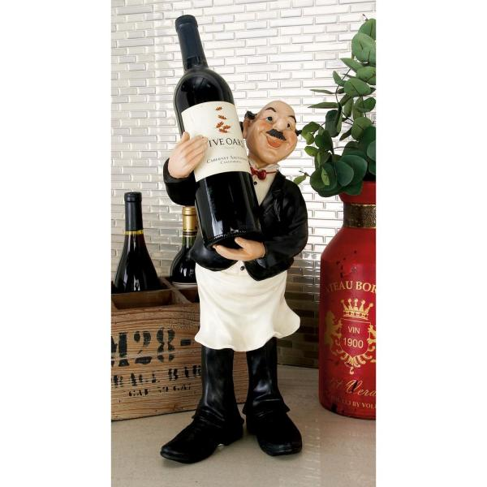 Litton Lane 18 in. Polystone Bistro Waiter Standing Figurine Bottle Holder